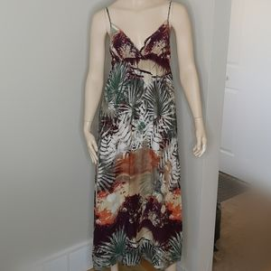 Kismet Tropical Maxi Sun Dress Spaghetti Straps